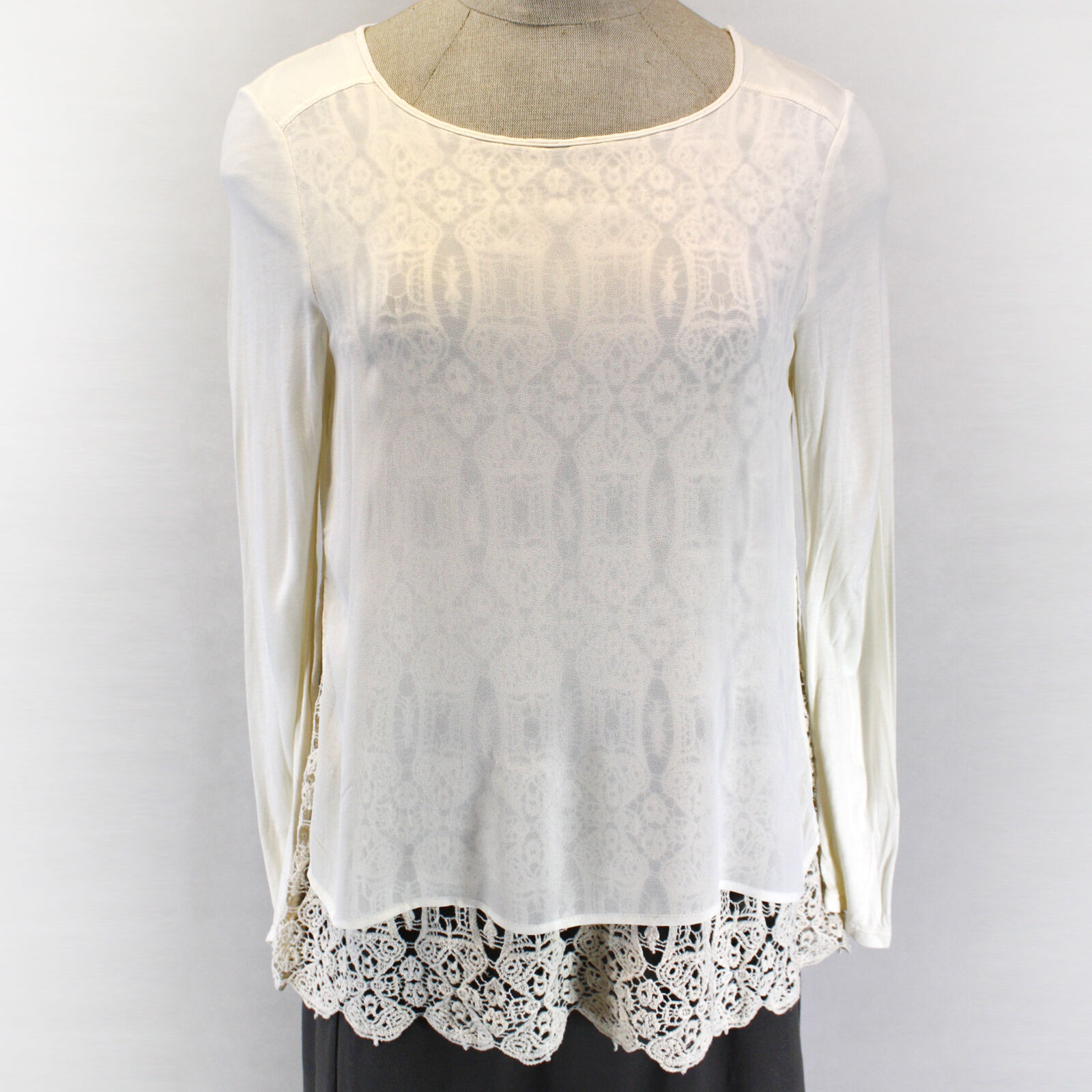 NEW XCVI Ivory Layered Sheer Mesh & Lace Knit Asymmetric Tunic Blouse Top XL