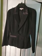 BEBE San Francisco Womans Black Jacket Shine Collar and Pockets Wool Size 4 EUC