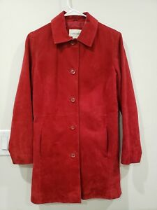Cherokee-Womens-Coat-Jacket-Red-Leather-Suede-Size-S