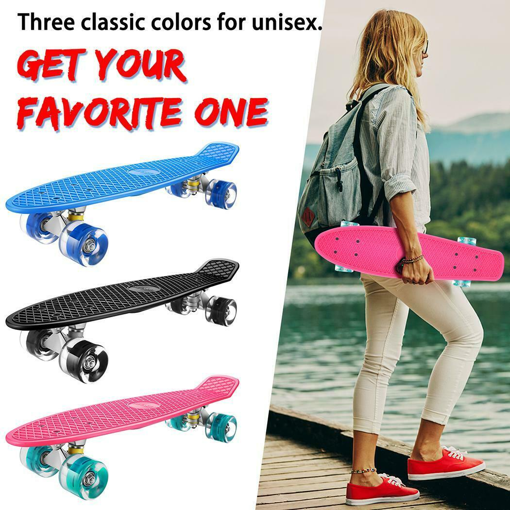 Details about  /Skateboards Complete 22 Inch Mini Cruiser Retro Skateboard with LED Light Up~