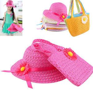 SEGRJ Kids Baby Girl Anti-UV Straw Hat Children Summer Visor Beach Wavy Sunhat Cap Bag