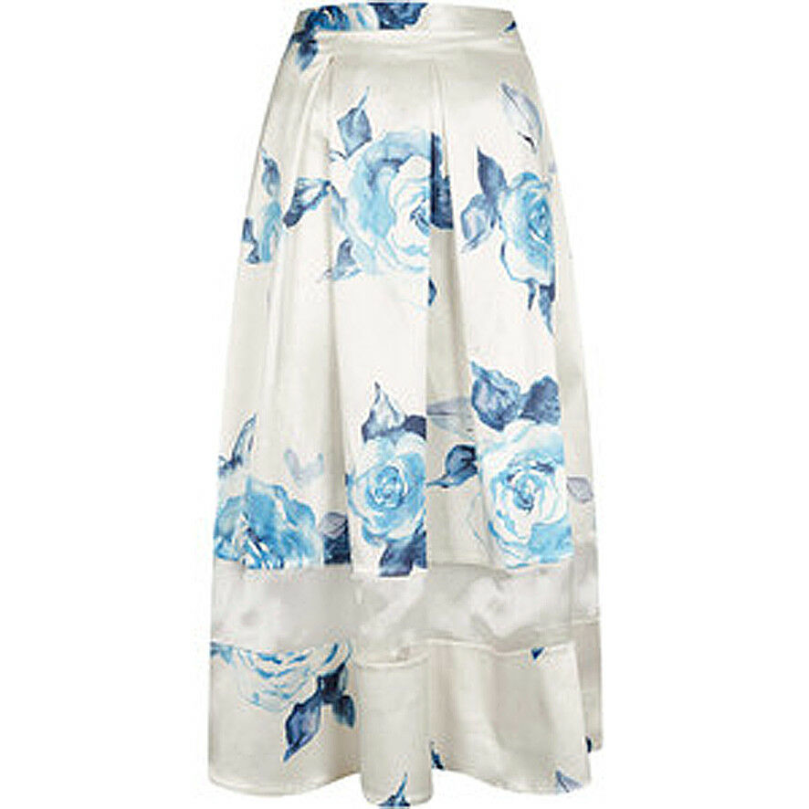 BNWT Topshop Cream Satin With bluee pinks Floral Midi Skirt UK10