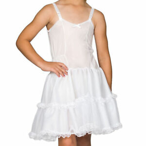Girls-White-Bouffant-Full-Slip-Petticoat-Lace-Embellished-4-14