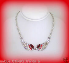 SILVER ANGEL WING RED RHINESTONE NECKLACE~VALENTINES DAY GIFT FOR HER WOMEN MOM