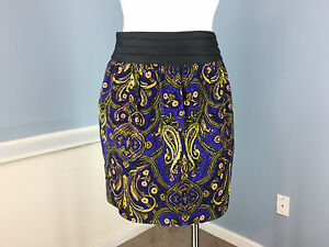 New Anthropologie IDRA Paisley Fine Wale Corduroy Mini Skirt 0 XS Cotton $88