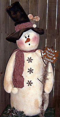 """Flake's"" A Primitive 37"" Tall Snowman Pattern"