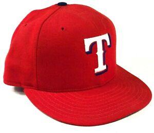 New-Era-pro-Modelo-Texas-Rangers-Lana-Gorro-Talla-6-3-4-Rojo-Blanco-90s-Vintage