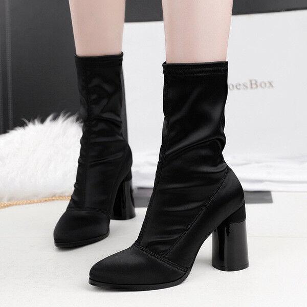 stivali stivaletti bassi scarpe caviglia nero 10 cm eleganti simil pelle 9673