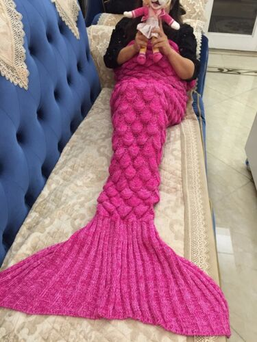 Mermaid Tail Blanket Fish Scale Handmade Crocheted Cocoon Sofa Quilt Rug Knit UK
