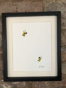 Two Bumble Bees Original Watercolour Painting, Signed Art Not A Print, Gift