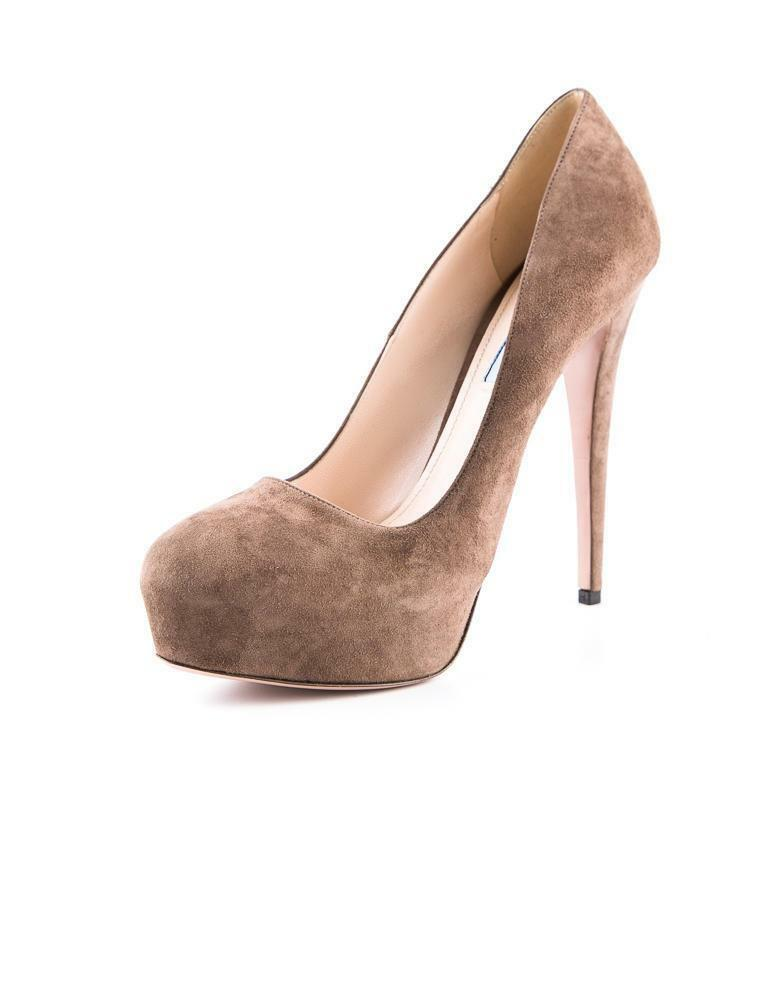 PRADA Womens Brown Suede Classic Sexy Platform High Heel Stiletto Pump 10-40