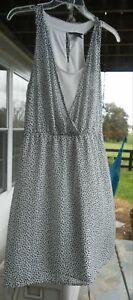 H-amp-M-Summer-Sleevless-Black-Gray-White-Slip-Over-Dress-Size-8