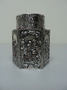 ANTIQUE E. G. WEBSTER & SON SILVER PLATED  6-SIDED TEA CADDY, c. 1900