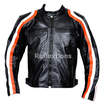 Motorcycle Jacket Leather Harley Style Motorbike Biker CE Armour Protection