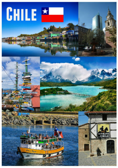 CHILE, SOUTH AMERICA - SOUVENIR NOVELTY FRIDGE MAGNET - SIGHTS / FLAG / GIFTS