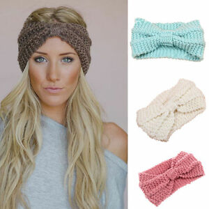 US Women Crochet Headband Knit Bowknot Hairband Ear Warmer Winter ... 96ad5a6b7a9