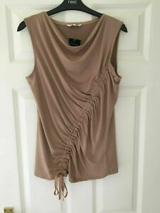 BNWT NEXT SZ 8  BEAUTIFUL BEIGE TAN RUCHED STRETCH BLOUSE TOP NEW