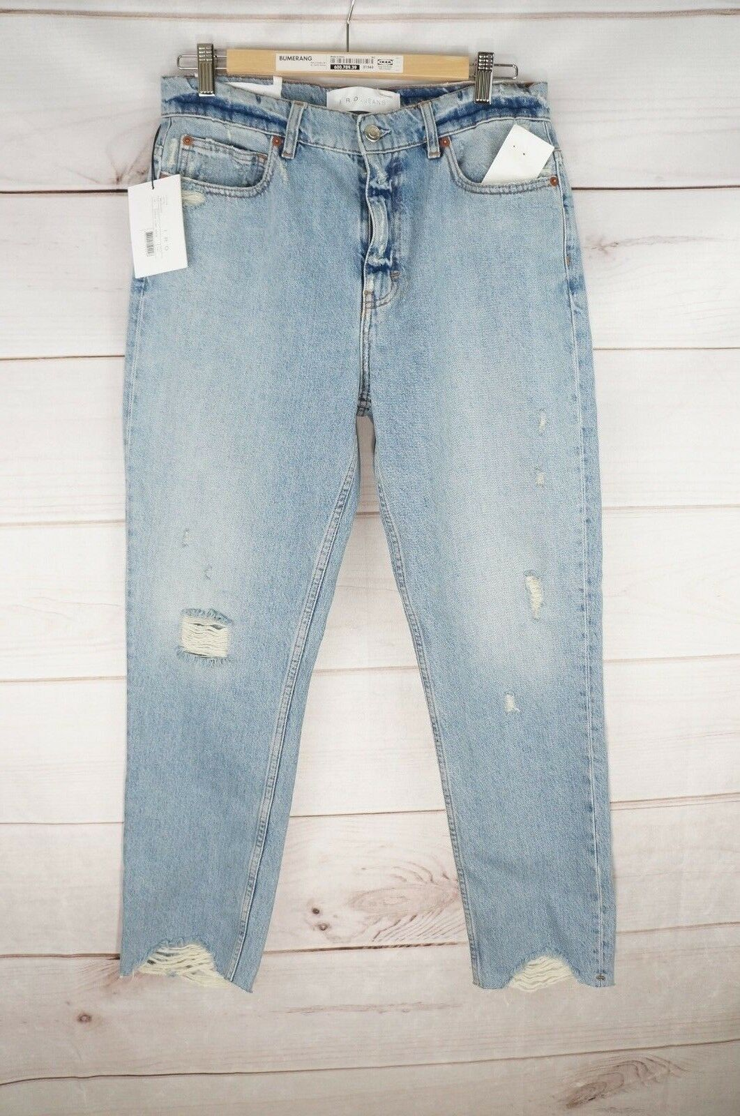 NWT IRO Jeans Womens High Rise Boyfriend Distressed Raw Hem Straight Leg Mom