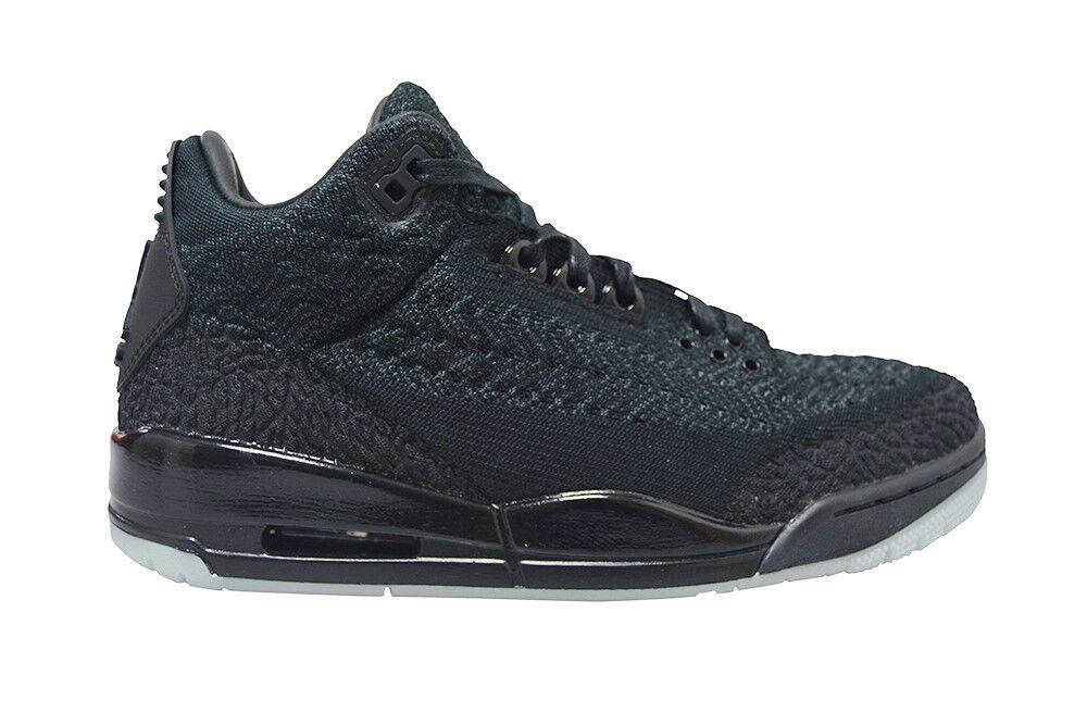 Mens Nike Air Jordan 3 Retro Flyknit - AQ1005001 - Triple Black Grey Trainers
