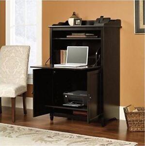 Computer Armoire Black Desk Cabinet Office Hutch Storage