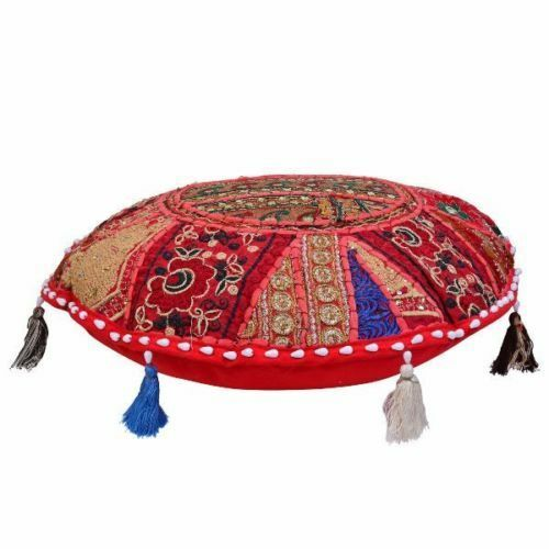 Patchwork Art Round Cushion Cover Floor Pillow Embroidered Indian Bohemian Decor