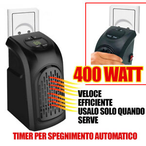 stufa elettrica da presa 400 watt portatile handy heater regolabile basso consum ebay. Black Bedroom Furniture Sets. Home Design Ideas