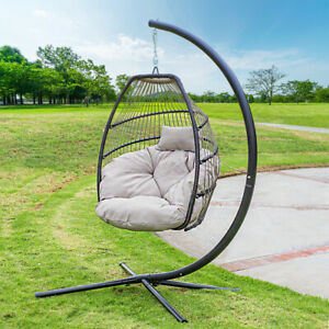 Fine Details About Outdoor Large Lounge Chair Patio Hanging Egg Seat Swing Cushion Headrest Beige Caraccident5 Cool Chair Designs And Ideas Caraccident5Info