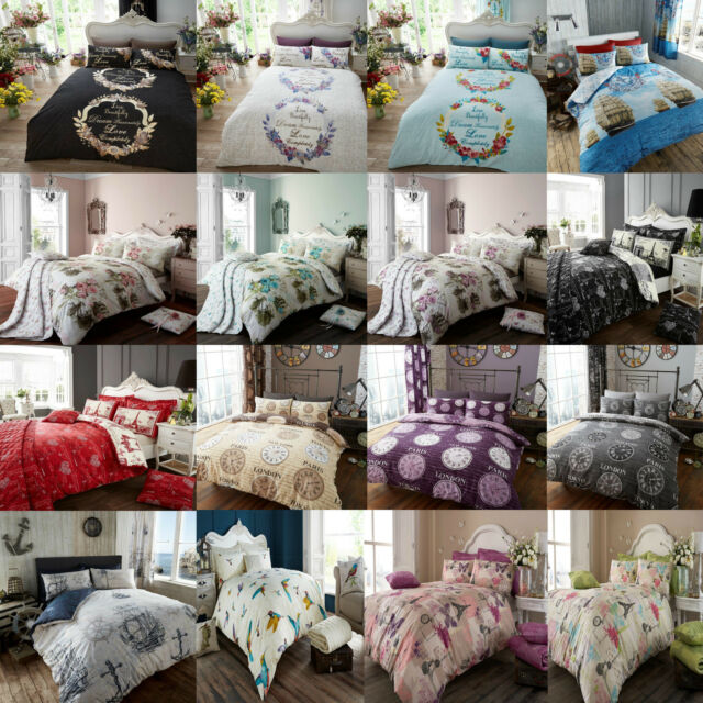 DUVET/QUILT COVET SET WITH PILLOW CASES BEDDING SET SINGLE DOUBLE KING VINTAGE