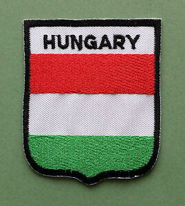 NATIONAL FLAG COUNTRY SHIELD SEW ON / IRON ON EMBROIDERED PATCH:- HUNGARY