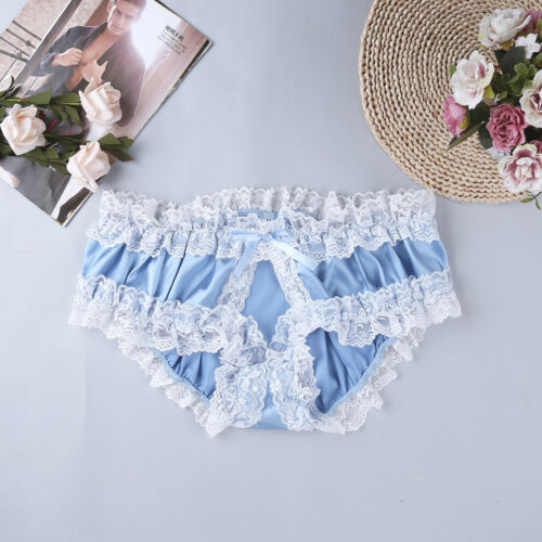 Sissy Men/'s Lace Satin Briefs Underwear Crotchless Panties Crossdress Knickers