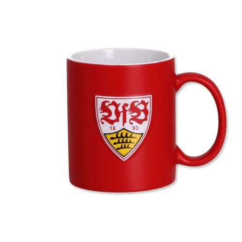 VfB Stuttgart Tasse Bad Cannstatt Rot 3D Logo und gravierter Schriftzug Keramik
