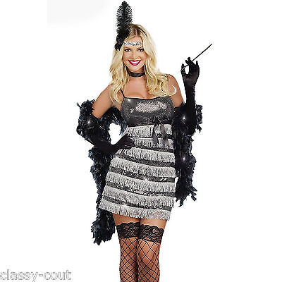 1920's Speakeasy Vixen Charleston Fringed Dress Flapper Costume - Sz 8,10,12,14
