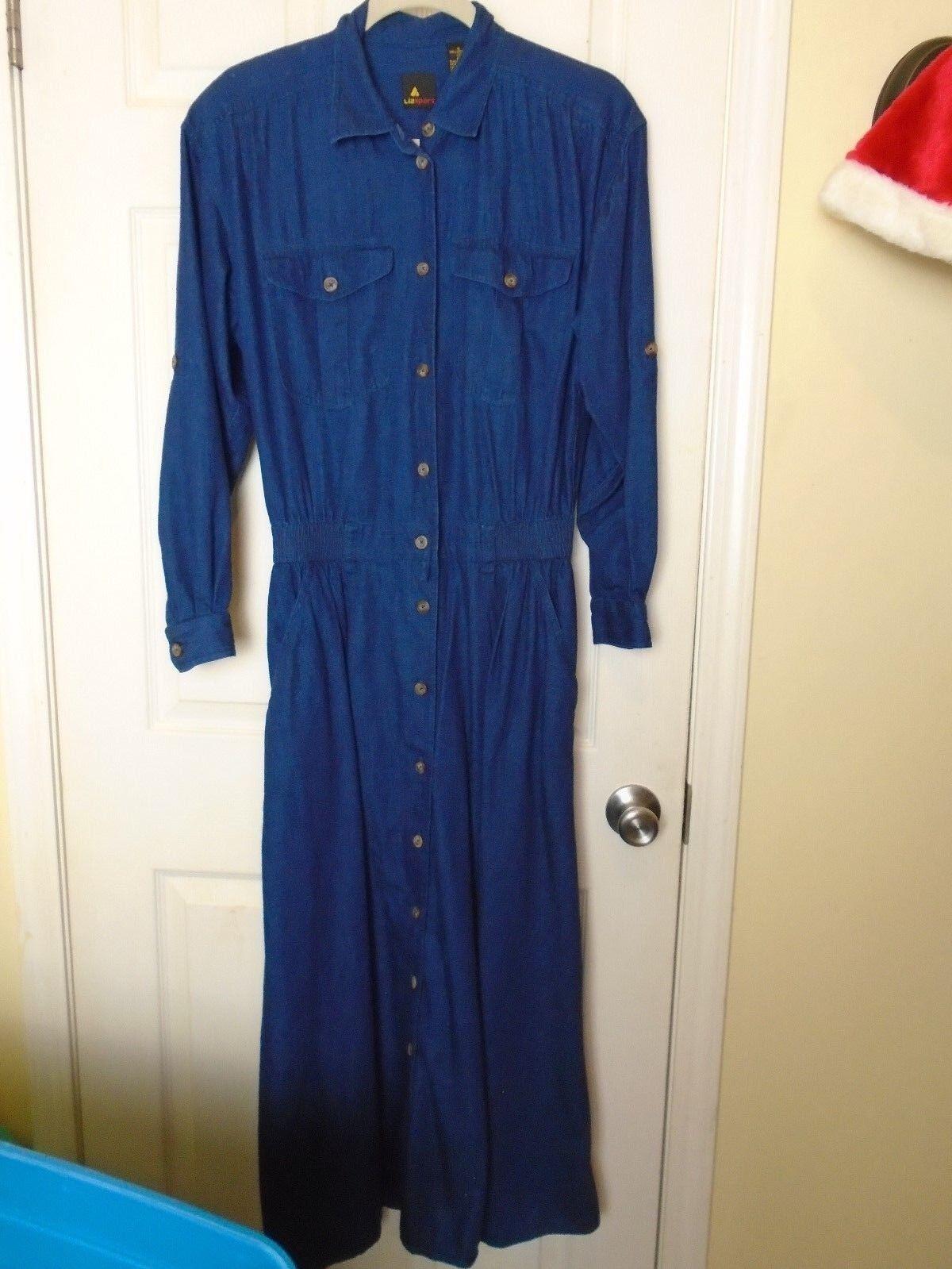 Liz Sport Liz Clairborne Vintage 80s Navy  Jumpsuit style skirt  Size 8