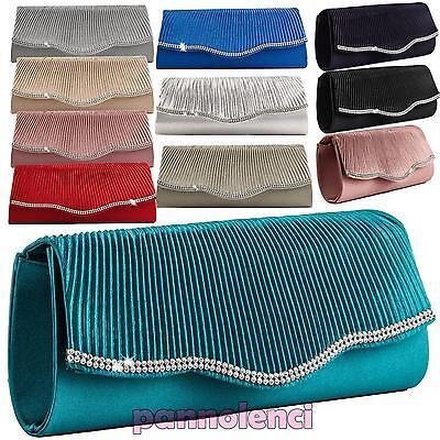 Damentaschen Clutchbag handbag satin baguette STRASS clutch schultergurt