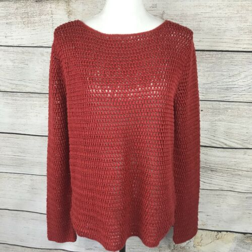 Hand Blend See Knit Ralph Size Large Through Lauren Maglione Linen RqXI0Ww