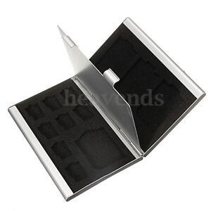 Aluminio-Funda-Estuche-Caja-Protector-Para-Tarjetas-Memoria-Micro-CF-8x-TF-4x-SD