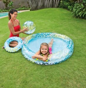 Details zu XXL SET Planschbecken Kinder Baby Wasser Pool Becken Garten  GRATIS REIFEN + BALL