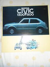 Honda Civic 1200 1500 brochure c1976
