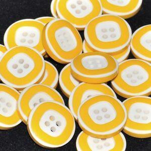 Mercerie lot de 5 Boutons plastique jaune et blanc 14mm button