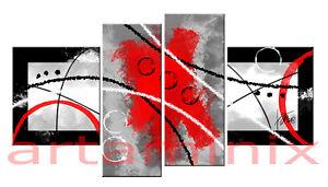 Dipinti Per Soggiorno : Quadri moderni astratti dipinti a mano rosso nero argento grigio