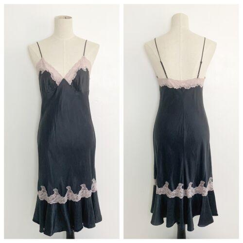 Vintage Black Silk Chemise Slip Dress Size Small