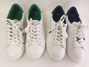 39a17bc9328d NIB Tory Burch Sport Chevron Leather Sneakers WHT Navy Green New 8.5 ...