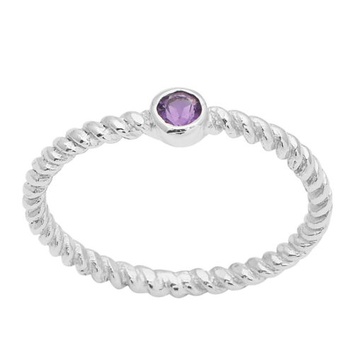 925 Sterling Silver Round Amethyst Rope Shank Dainty Stackable Ring
