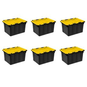 6-Storage-Bins-Stack-Containers-12-Gal-Totes-Plastic-Heavy-Duty-Hinged-Lid-Boxes