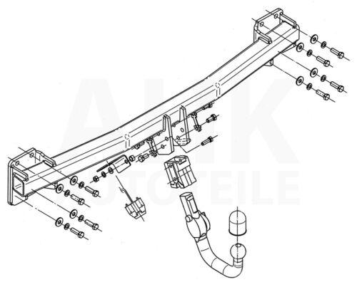 Audi Q7 außer Panoramadach 06-15 Anhängerkupplung abn Kpl AHK