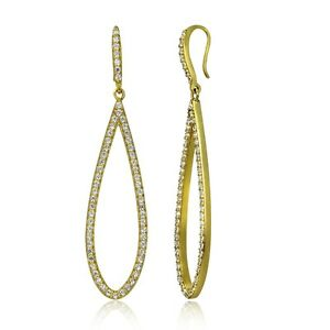 Gold-Tone-over-Sterling-Silver-Cubic-Zirconia-Teardrop-Dangle-Earrings
