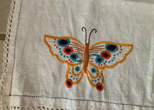 Vintage Embroidered Table Runner  Dresser Scarf
