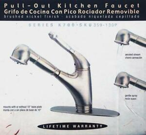 Pegasus Single Handle Pull Down Sprayer Kitchen Faucet In Brushed