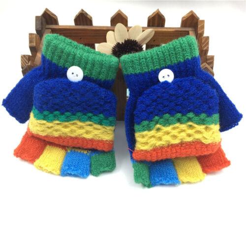 Toddler Baby Cute Gloves Thicken Patchwork Hot Girls Boys Of Winter Warm Gloves
