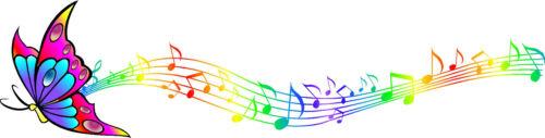 Multicolore Farfalla Arcobaleno Note Musicali Adesivo Per Auto In Vinile